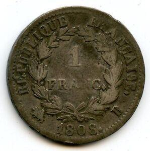 Empire Napoleon The1st 1 Franc 1808 B Rouen Paris F.204/3 N° 2