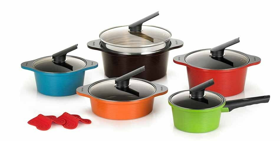 Happycall Alumite Ceramic Pots Die Casting Ceramic Coating Kitchenware 5 Set