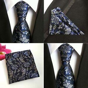Men-Blue-White-Flower-Silk-Necktie-Pocket-Square-Handkerchief-Set-Lot-NEW-HZ093