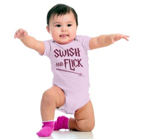 Swish And Flick Nerdy Wizard Spell Magic Wand Newborn Romper Bodysuit For Babies
