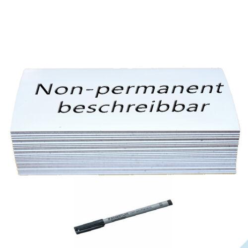 50 Magnet-Schilder 30mm x 100mm weiß non-permanent beschreibbar Qualität /'/'Anist