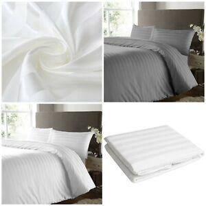 Stripe-Drap-Plat-600-fils-au-pouce-100-Coton-Egyptien-Double-King-Size-Sheets