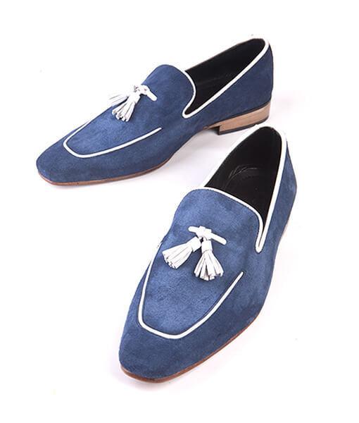 Handmade Hommes Bleu Marine En Cuir et Daim pampilles Mocassins Chaussures Mocassin Slip Ons