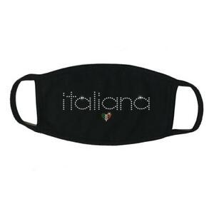 "Face Mask Rhinestone "" Italiana "", Cotton Blend, Made In USA"