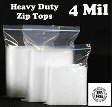 Zip Seal Plastic Bags Heavy Duty 4mil Clear Reclosable Top Lock Baggies 4 Mil