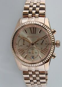 ed85f936d1ae Image is loading Michael-Kors-Lexington-MK5569-Chronograph-Rose-Gold-Tone-