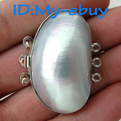 3 Rows Gray South Sea Shell Oval Clasps With Silver  for Necklace/Bracelet