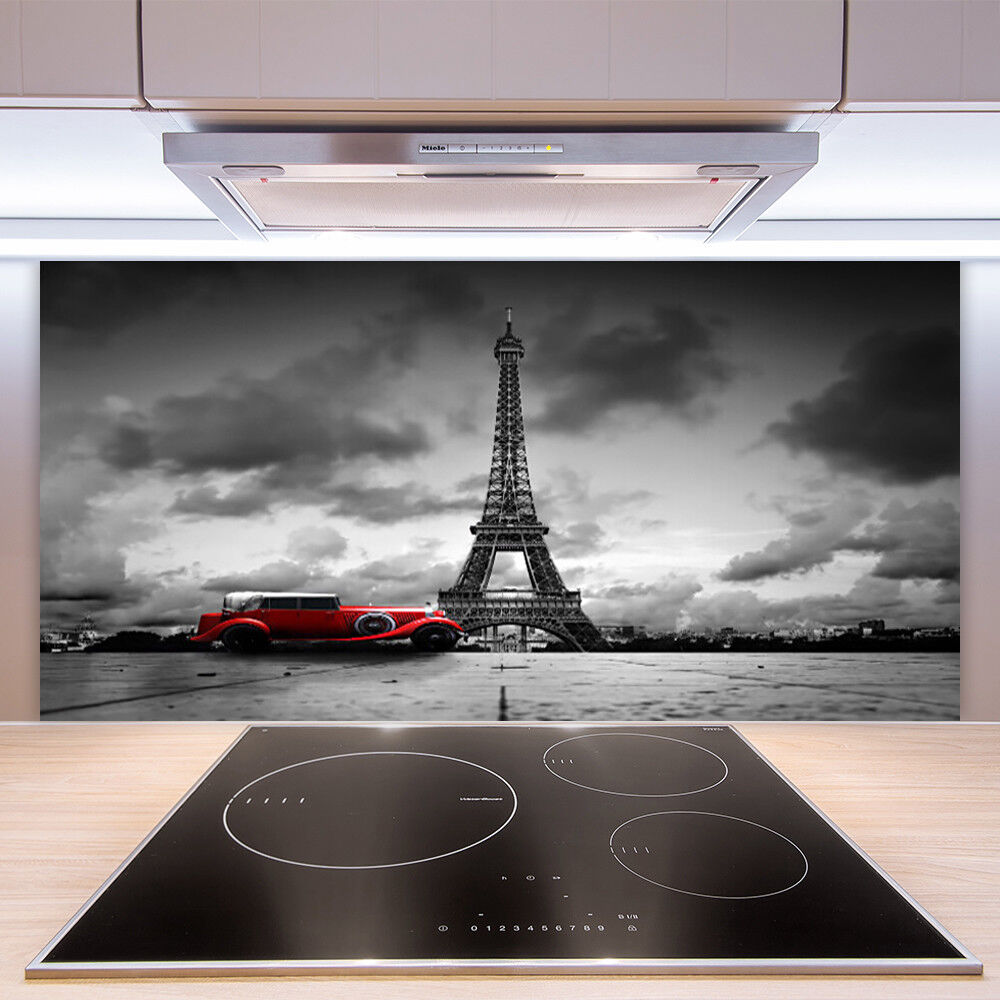 Crédence de cuisine en verre Panneau Paroi 100x50 Tour Eiffel Voiture