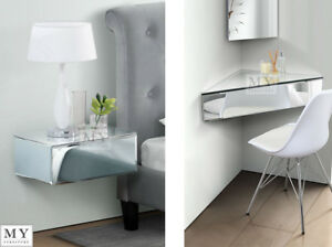 Image Is Loading My Furniture Inga Mirrored Floating Bedside Table Console