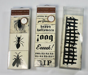 3 Martha Stewart Halloween Rubber Stamp Sets Insects Fence Spooky