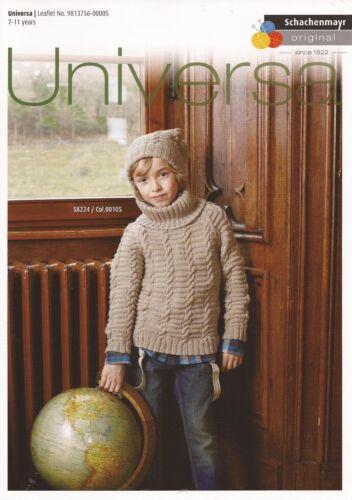 Schachenmayr S8224 Childs Sweater Cap DK Knitting Pattern Book Leaflet #14D165