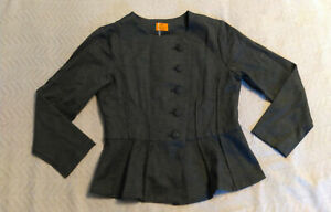 Marycrafts-Women-039-s-Five-Button-Peplum-Hem-Suit-Jacket-MC7-Charcoal-Size-12-NWT