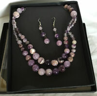"""Qvc Silver Plated Multicolor Necklace W/ Earrings 18"""" Long Chain Amethyst Quartz"""