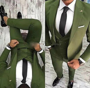 2019 DernièRe Conception Hommes Verts Business Mariage Groom Costumes 3 Pcs Veste Slim Fit Smoking Formelle Prom-afficher Le Titre D'origine