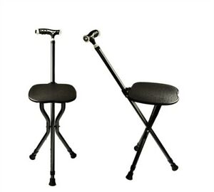 Delicieux Details About Adjustable Folding Walking Cane Chair Walking Stick With Seat  And LED Light NEW
