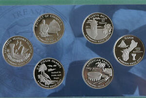 2009-Proof-Quarter-Set-DC-amp-US-Territories-6-Coins-ONLY-No-Box-Territory-25-Cent