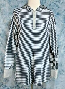 Duluth-Trading-Co-Womens-L-Gray-Blue-Striped-Long-Sleeve-Hooded-Henley-Top