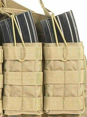 TAS - DOUBLE OPEN M4 MAGAZINE MOLLE POUCH, AIRSOFT, WEBBING