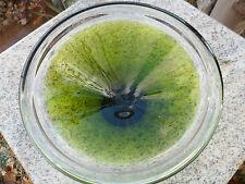"Mid Century Modern Green Clear Art Glass Bowl Display Dish 8"" Murano Chalet"