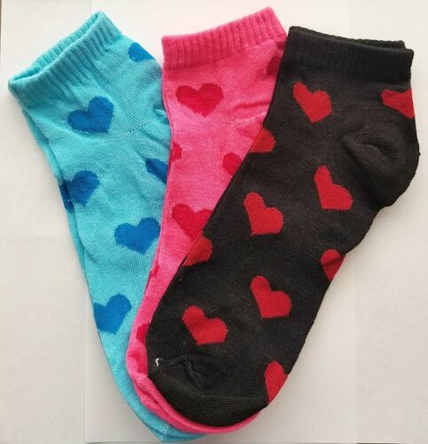 3 PAIRS HEART PRINT BRIGHT CRAZY COLORS NOVELTY ANKLE SOCKS  9-11