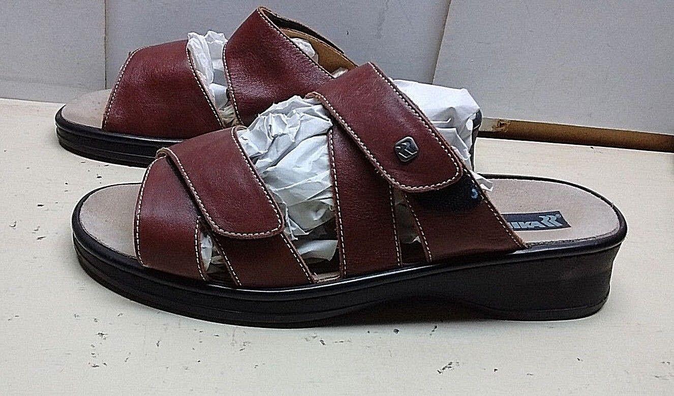 Romika Women Brown Leather Adjustable  Open Toe  Wedge Slide Sandal shoes 11 M 42