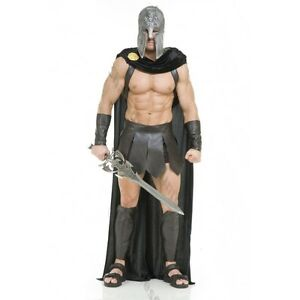 Image is loading ADULT-MENS-SPARTAN-WARRIOR-300-ROMAN-GREEK-GLADIATOR-  sc 1 st  eBay & ADULT MENS SPARTAN WARRIOR 300 ROMAN GREEK GLADIATOR COSTUME W/ CAPE ...