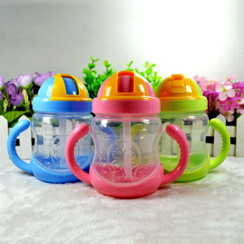Cute Baby Cup Kids Learn Feeding Drinking Water Straw Handle Bottle Training Cup