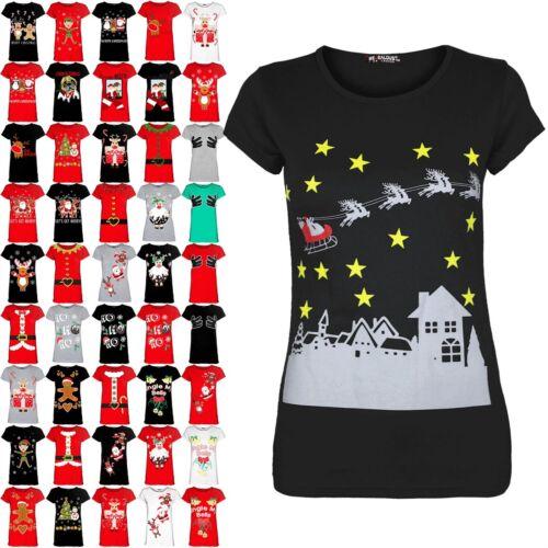 Womens Ladies Cap Sleeve Xmas Christmas Stars Reindeers Tee Shirt Top UK 8-14