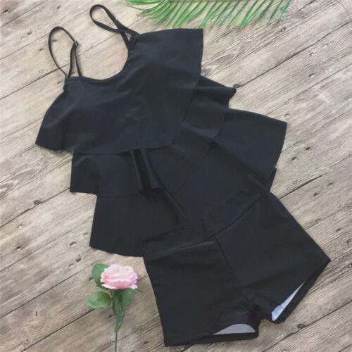 Women Bikini Set Flounce Ruffle Top Tankini Set Boy Shorts Suits Floral Swimwear