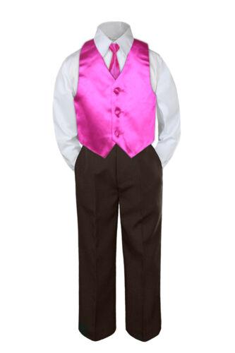 4pc Boy Suit Set Fuchsia Hot Pink Vest Necktie Baby Toddler Kid Pants S-7