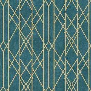 Portefeuille-Lineaire-Papier-Peint-Geometrique-Sarcelle-Dore-Rasch-215137