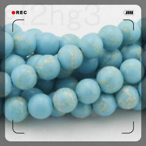 Natural-Turquoise-Gemstone-Beads-4-6-8-10-12-14mm-Round-Spacer-Loose-Beads-15-034