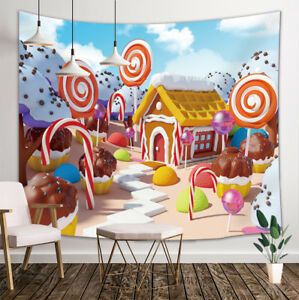 Candy Land With Gingerbread House Tapestry Wall Hanging ...
