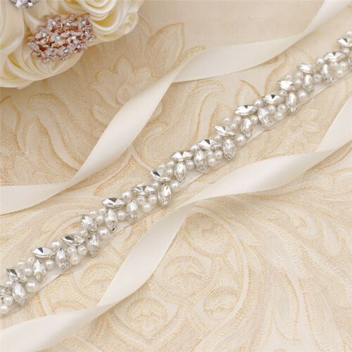 Handmade Thin Crystal Pearl Bridal Sash Rhinestone Belt for Wedding Gown Dresses