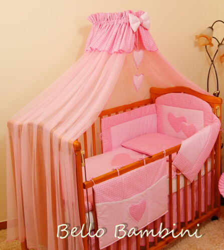 10pcs BABY BEDDING SET //BUMPER//CANOPY //HOLDER//DUVET//CANOPY 4 COT BED or COT PINK