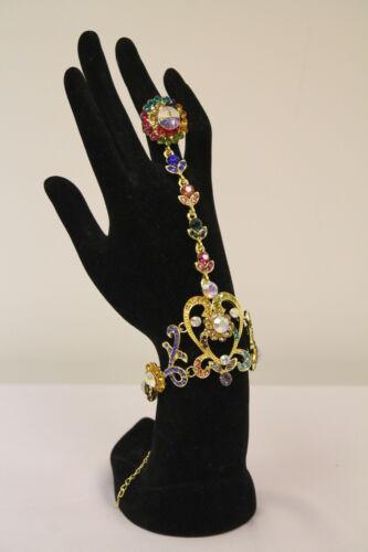 Ladies Diamante Crystal Chain Bracelet Ring Bridal Prom Hand Costume Jewellery