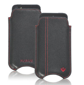For-Apple-iPhone-4-Black-Real-Leather-NueVue-Screen-Cleaning-Pouch-Sleeve-Case