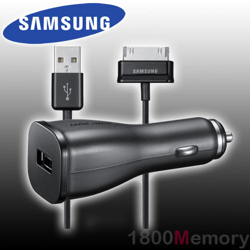 GENUINE Samsung Car Adapter DC 12-24V Charger 30pin USB Cable for Galaxy Tab / 2