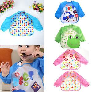 Baby Kids Long Sleeve Feeding Bib Waterproof Coverall Art Craft Paint Play Apron