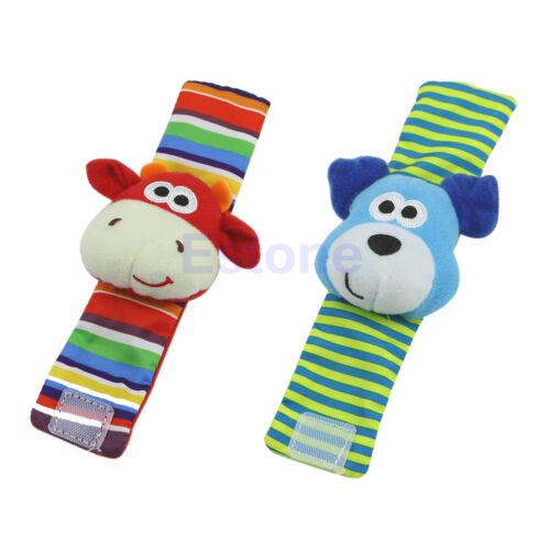 New Lovely Animal Baby Infant Kids Hand Wrist Bells Foot Sock Rattles Soft Toys
