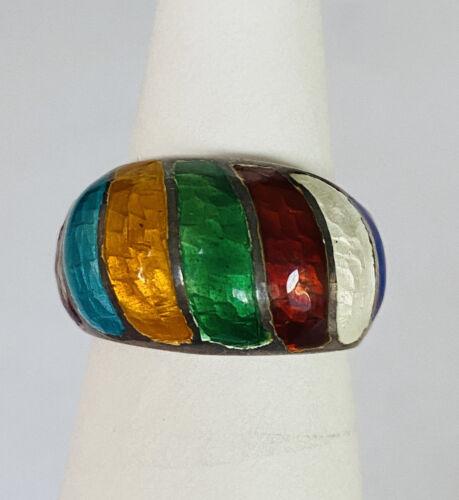 Vintage Sterling Silver Multi-Colored Rainbow Enam