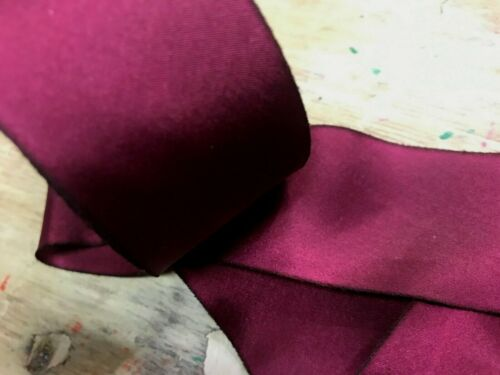 "SILK 1.5/"" RIBBON on the BIAS HANAH Made in USA 1yd Hand Dyed GARNET"