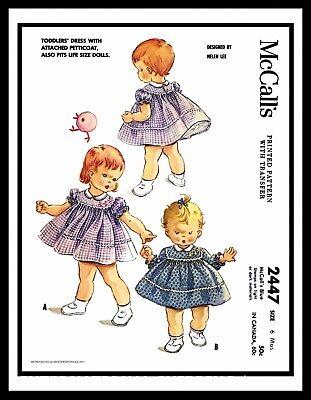McCall/'s 4946 Designer Helen Lee Sewing Pattern Frock DRESS Panties Toddler ~5~