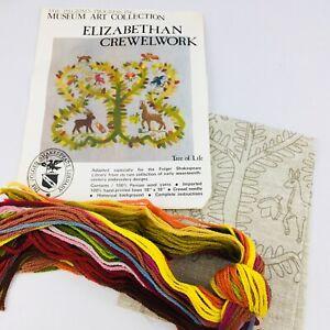 Vtg-Tree-of-Life-Crewel-Embroidery-Kit-1977-Elizabethan-Trevelyon-Complete