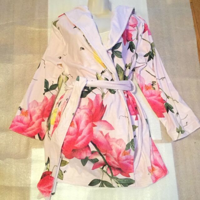 B By Ted Baker Citrus Bloom Short Robe Pink Dressing Gown Size 12
