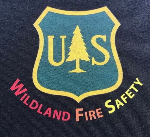 Agriculture Dept USFS FOREST SERVICE WILDLAND FIRE SAFETY Black Muscle T-Shirt