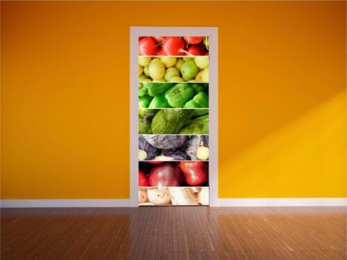 Fruits et Légumes porte de cuisine Wrap Imprimé Couleur Pleine murale Wall Art Autocollant P1H