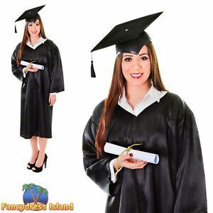GRADUATION UNIVERSITY SCHOOL ROBE /& HAT mens womens ladies fancy dress costume