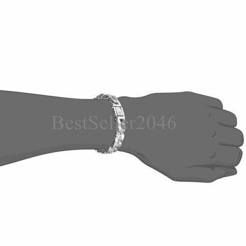 "Polished Stainless Steel Gothic Heavy Biker Cuban Chain Link Men/'s Bracelet 8.2/"""