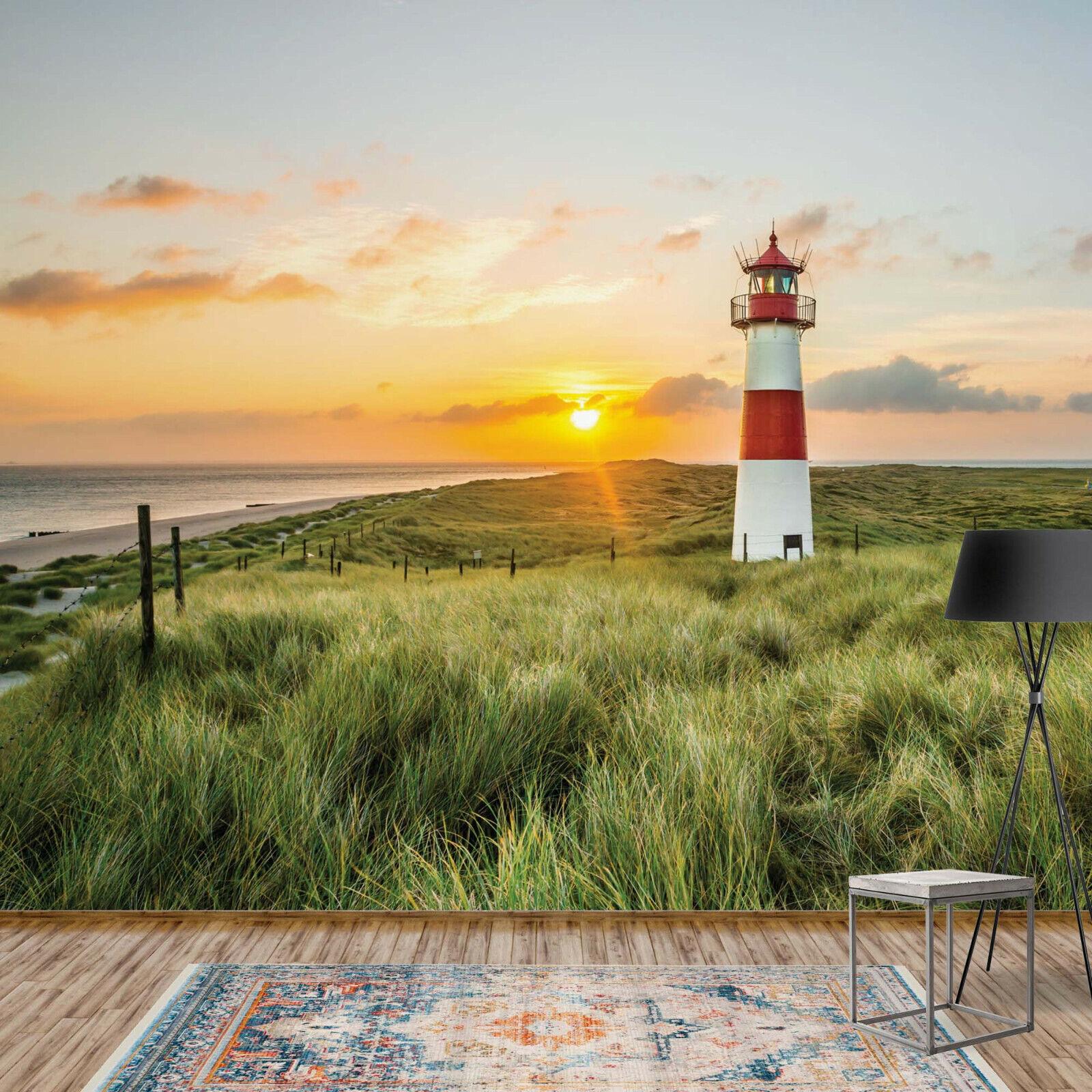 Tapete Fototapete Natur Maritim Meer Ozean Landschaft Leuchtturm Sonnenuntergang
